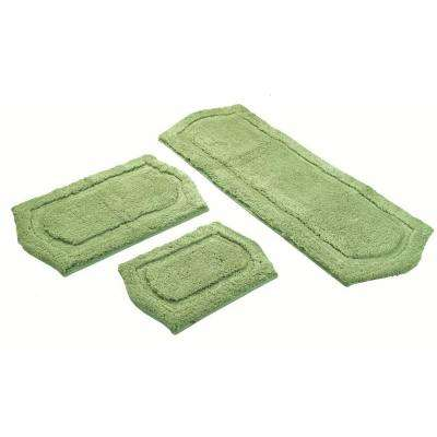 22 in. x 60 in., 21 in. x 34 in. and 17 in. x 24 in. 3-Piece Paradise Memory Foam Bath Rug Set in Sage