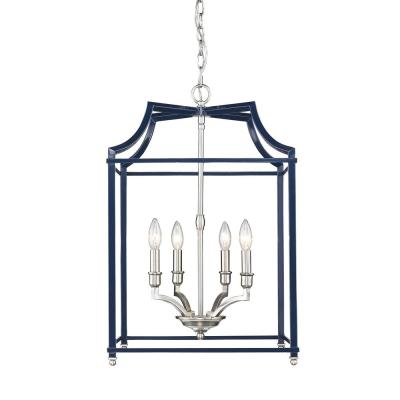 Leighton 4-Light Pewter and Navy Blue Pendant Light