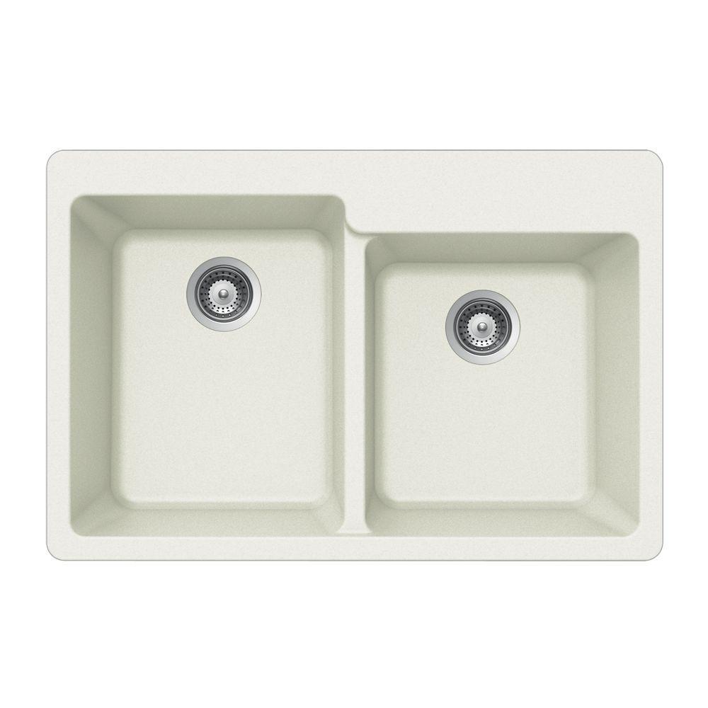 Quartztone Drop-In Composite Granite 33 in. 2-Hole Double Bowl Kitchen Sink in Cloud