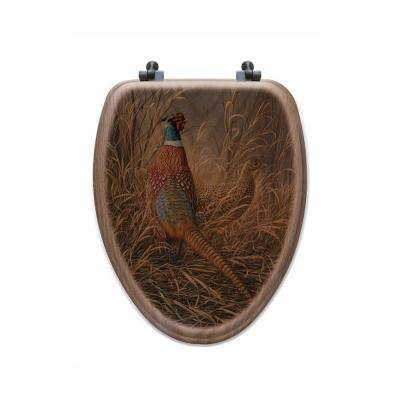 Late Season Solitude Pheasant Elongated Closed Front Wood Toilet Seat in Oak Brown