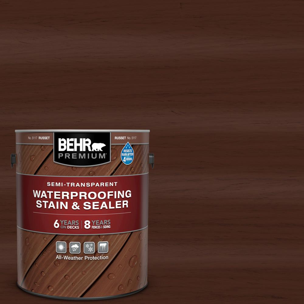 BEHR Premium 1 gal. #ST-117 Russet Semi-Transparent Waterproofing Exterior Wood Stain and Sealer