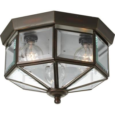 9.75 in. 3-Light Antique Bronze Flush Mount with Clear Beveled Glass