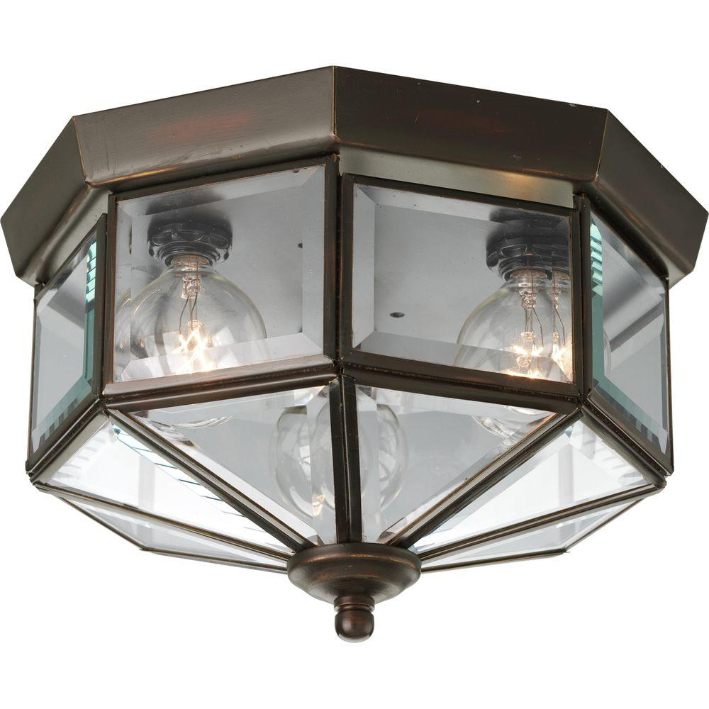 Progress lighting 975 in 3 light antique bronze flushmount with progress lighting 975 in 3 light antique bronze flushmount with clear beveled glass aloadofball Gallery