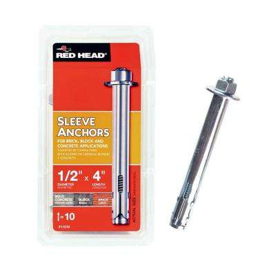 1/2 in. x 4 in. Hex-Nut-Head Sleeve Anchors (10-Pack)