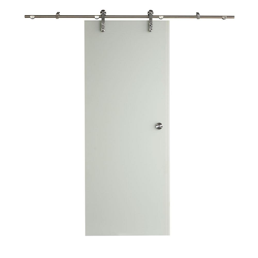 Pinecroft 32 in x 81 in ice glass barn door with sliding for Sliding glass doors hardware