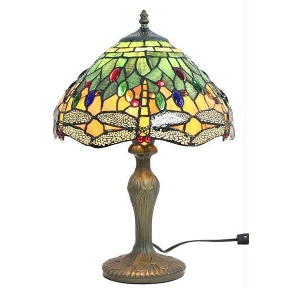 Tiffany Style Dragonfly Design Table Lamp