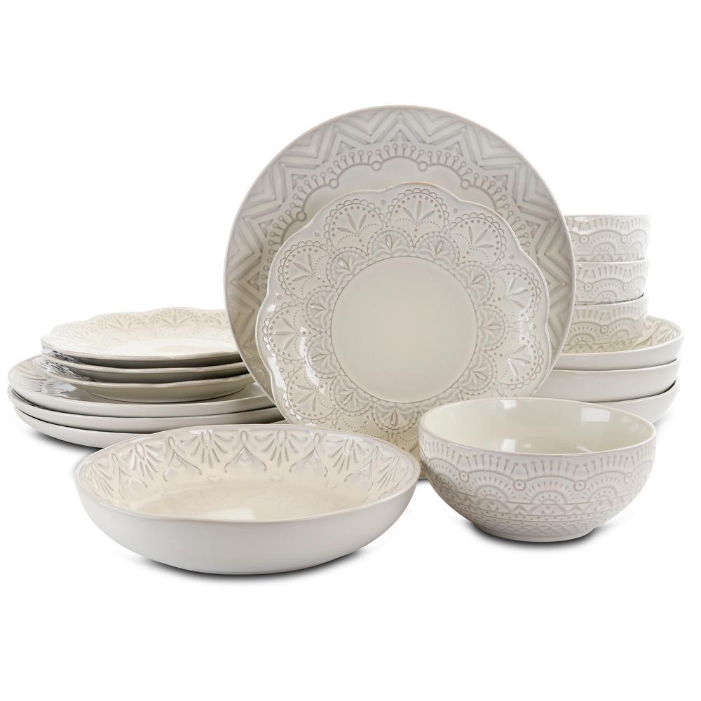 Pure Elegance 16-Piece Casual Cream Stoneware Dinnerware Set (Service for 4)