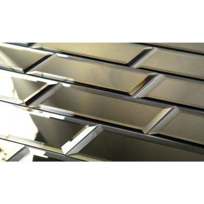 Reflections Peel and Stick Gold Beveled Subway 3 in. x 12 in. Glass Mirror Wall Tile (1 sq. ft. )