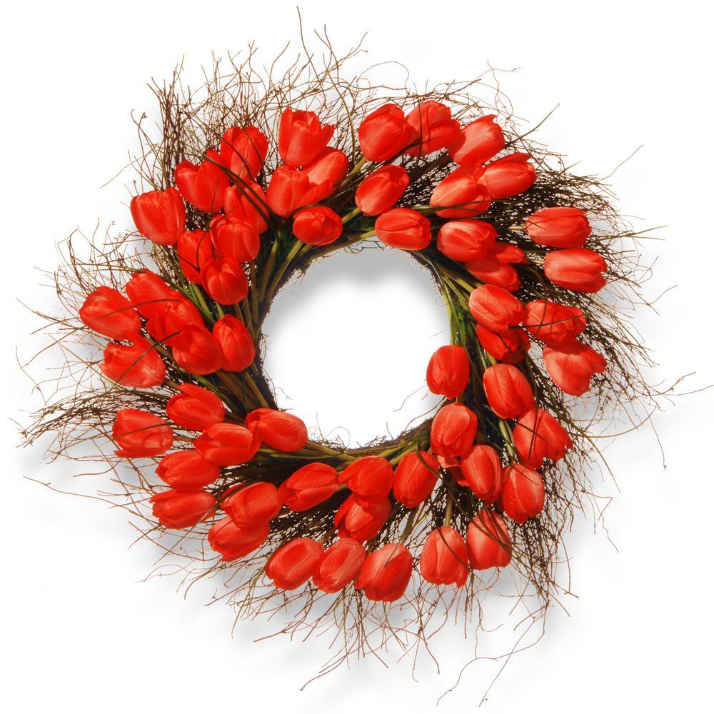 24 in. Red Tulip Wreath