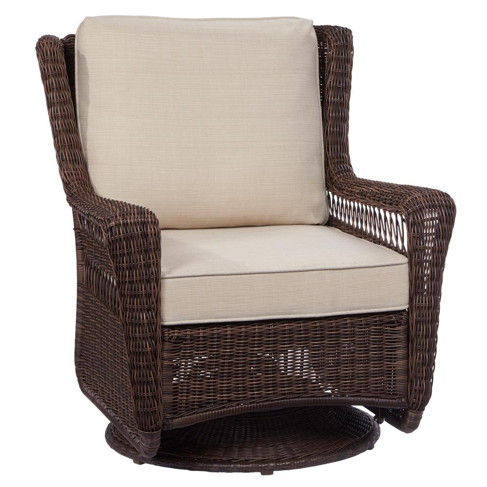 Superior Hampton Bay Park Meadows Brown Swivel Rocking Wicker Outdoor Lounge Chair  With Beige Cushion