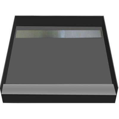 48 in. x 48 in. Single Threshold Shower Base in Gray with Back Drain and Tileable Trench Grate