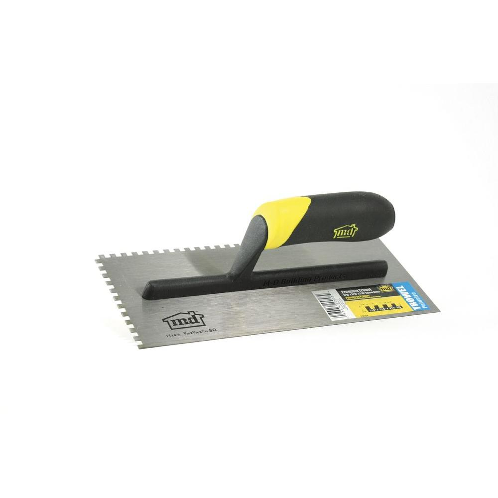 11 in. x 3/16 in. x 3/16 in. Square Notch Stainless Steel Flooring Trowel with Comfort Grip