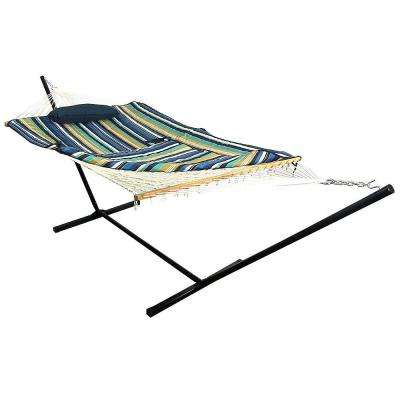 12 ft. Rope Hammock Bed Combo with Stand, Pad and Pillow in Lakeview