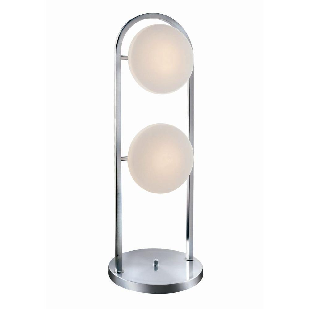 Illumine Designer Collection 30.5 in. Steel Table Lamp with Frost Glass Shade