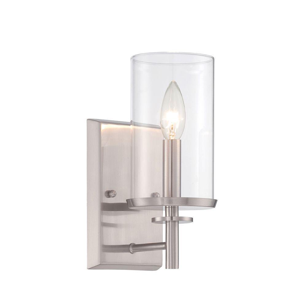 Harlowe 1-Light Satin Platinum Interior Incandescent Bath Vanity Light
