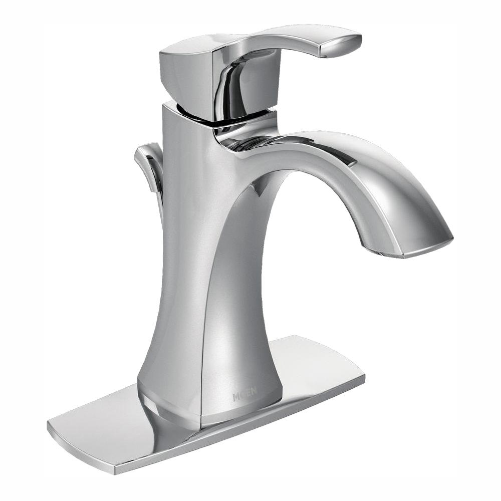 MOEN Voss Single Hole Single Handle High-Arc Bathroom Faucet in Chrome