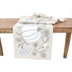 Manor Luxe Harvest Pumpkins And Vines Crewel Embroidered