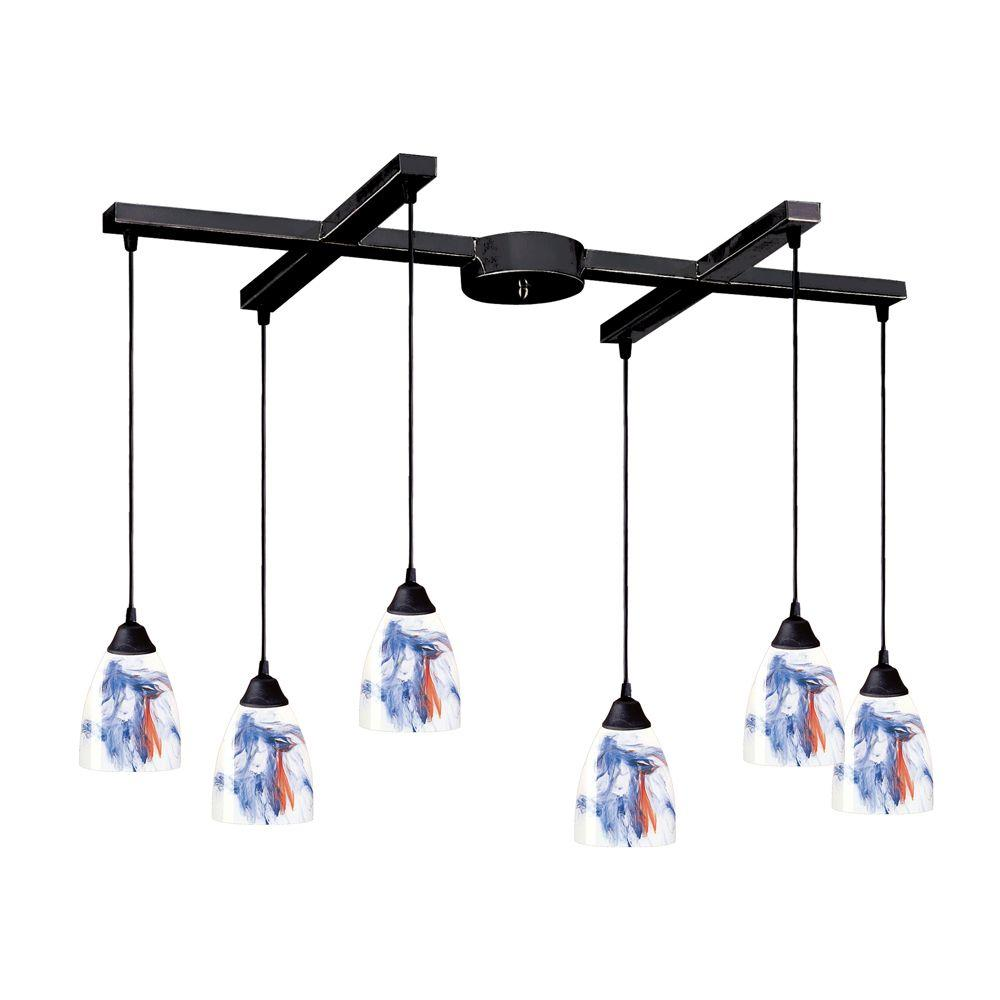 Titan Lighting Classico 6-Light Dark Rust Ceiling Mount Pendant
