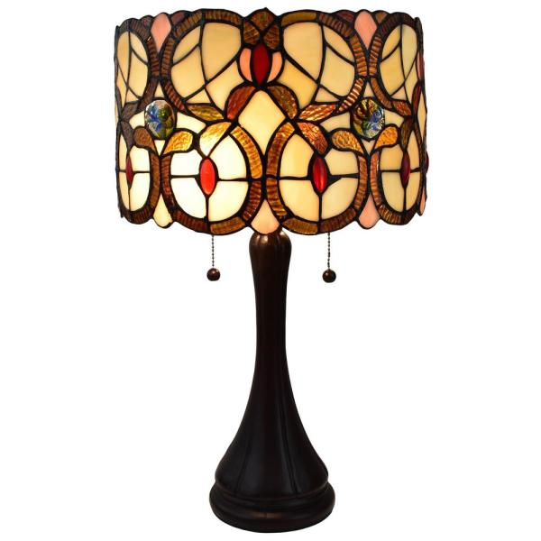 21 in. Tiffany Style Banker Floral Multicolor Table Lamp