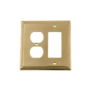 Nostalgic Warehouse Rope Switch Plate with Rocker and Outlet in Polished Brass by Nostalgic Warehouse