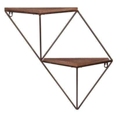 Step 5.88 in. x 17.5 in. x 17.13 in. Black and Brown Wood and Metal Corner Decorative Wall Shelf