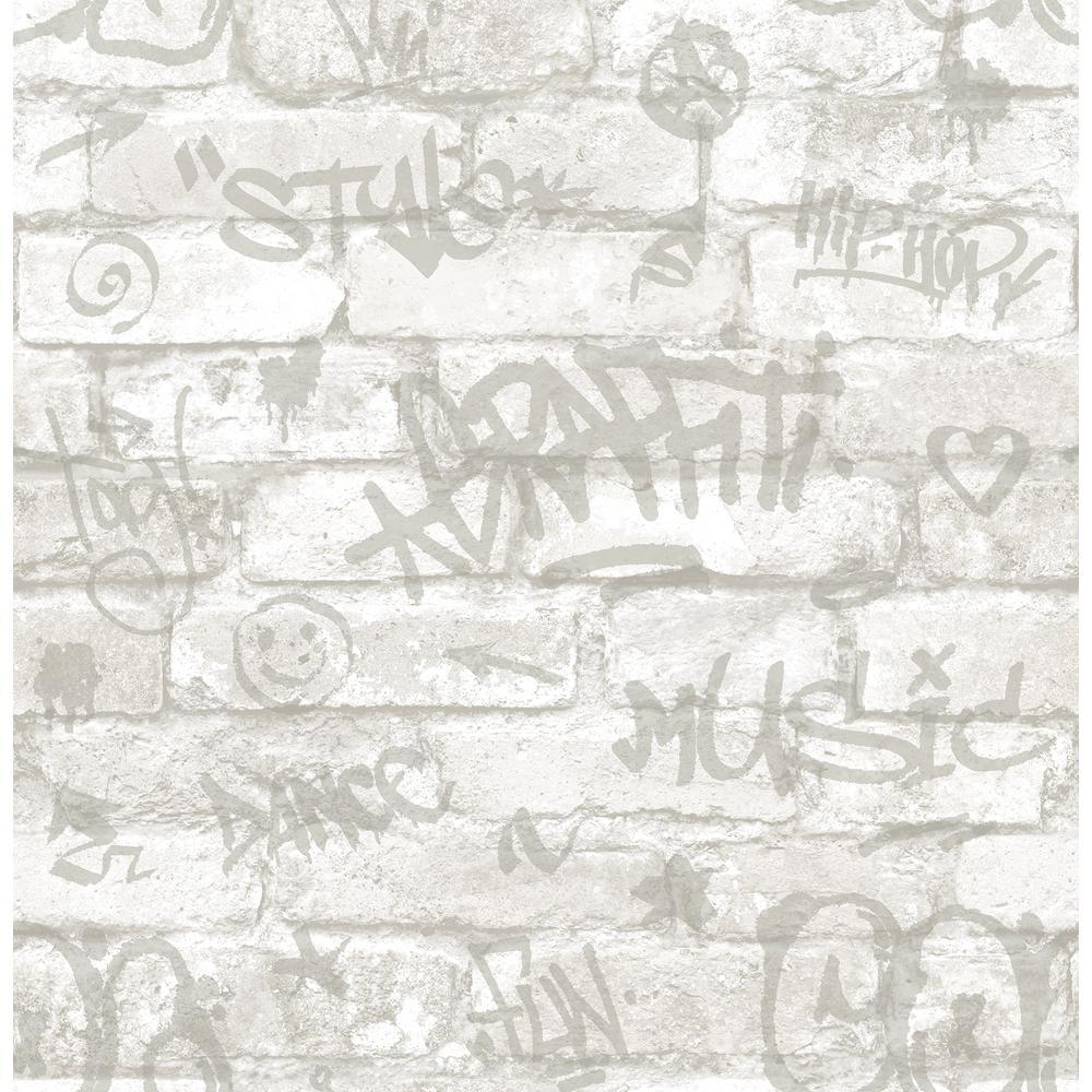 Brewster 56.4 sq. ft. Rodney White Tagged Brick Wallpaper HN002601
