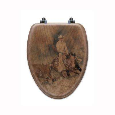 First Go Around Elongated Closed Front Wood Toilet Seat in Oak Brown