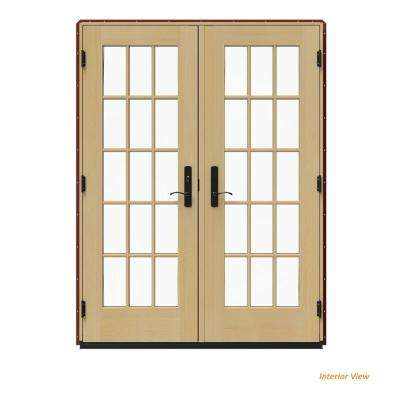 60 in. x 80 in. W-4500 Red Clad Wood Right-Hand 15 Lite French Patio Door w/Unfinished Interior