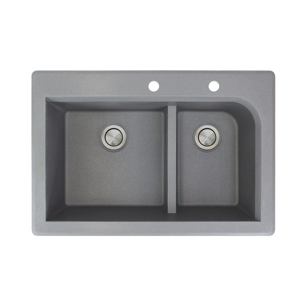 Radius Drop-in Granite 33 in. 2-Hole 1-3/4 J-Shape Double Bowl Kitchen Sink in Grey