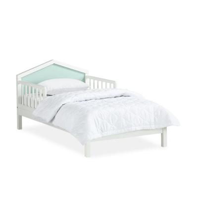 Albie White and Mint Green A-Frame Toddler Bed with Reversible Headboard