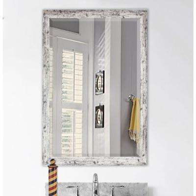 32.5 in. x 26.5 in. Weathered White Farmhouse Beveled Mirror
