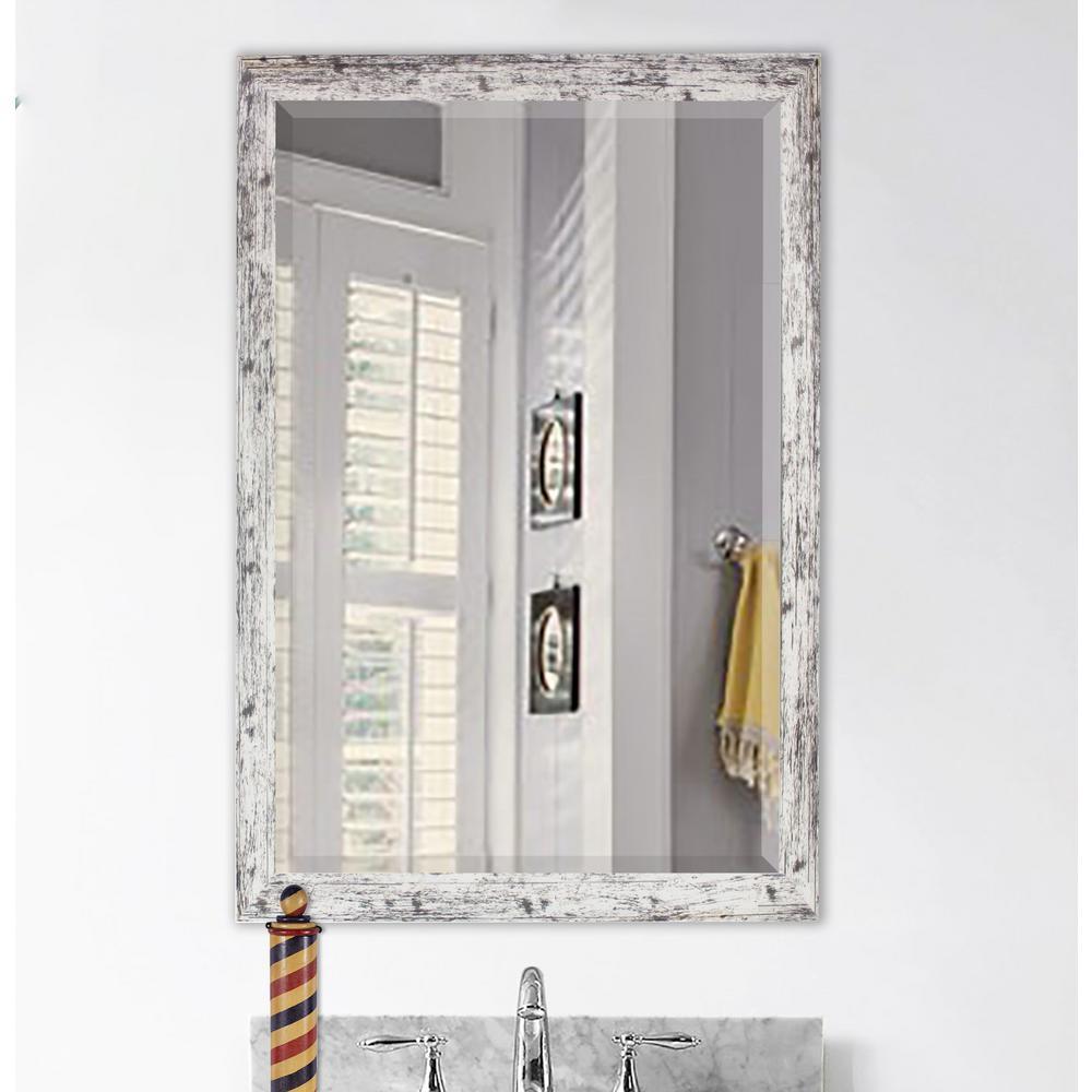 24 in. W x 30 in. H Framed Rectangular Beveled Edge Bathroom Vanity Mirror in White