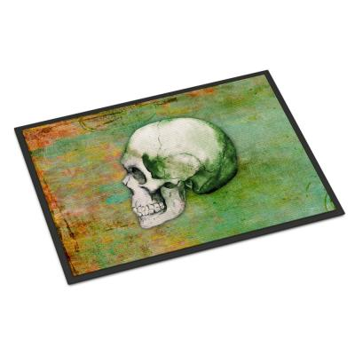 Caroline S Treasures 24 In X 36 In Indoor Outdoor Day Of The Dead Skull With Flowers Door Mat Bb5124jmat The Home Depot