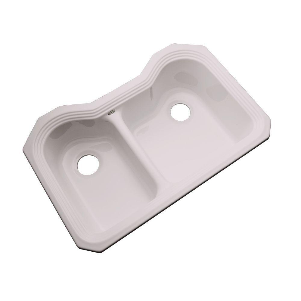 Breckenridge Undermount Acrylic 33 in. Double Bowl Kitchen Sink in Innocent