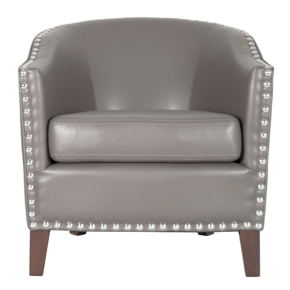 Genial Unbranded Moore Pebble Grey Bonded Leather Club Arm Chair