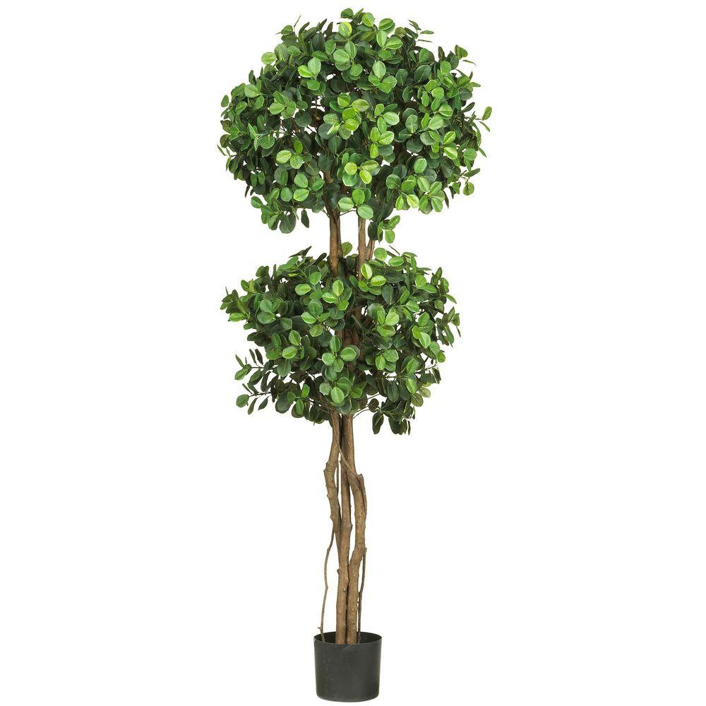 Nearly Natural 5.5 ft. Green Eucalyptus Double Ball Topiary Silk Tree