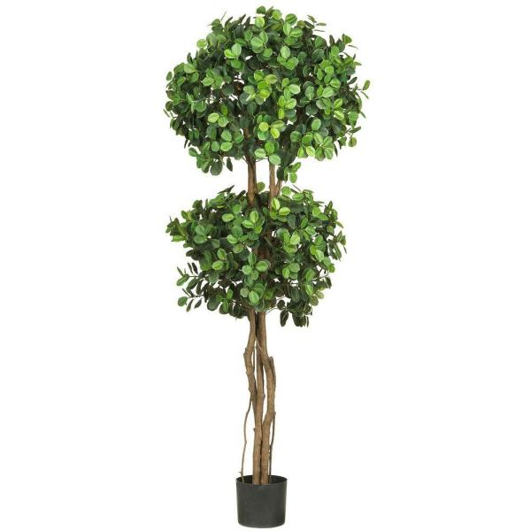5.5 ft. Green Eucalyptus Double Ball Topiary Silk Tree