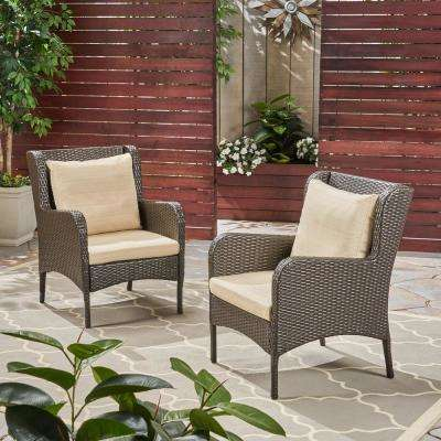 Adelaide Multi-Brown Wicker Outdoor Lounge Chairs with Beige Cushions (2-Pack)