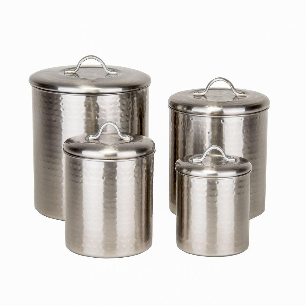 Old Dutch 4 Piece Hammered Canister Set In Brushed Nickel 1943 The