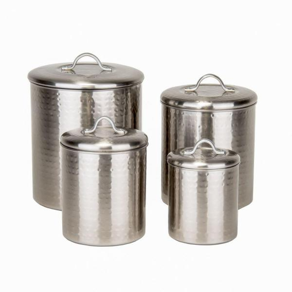 Old Dutch 4-Piece Hammered Canister Set in Brushed Nickel