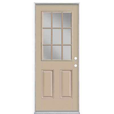 32 in. x 80 in. 9 Lite Canyon View Left Hand Inswing Painted Smooth Fiberglass Prehung Front Exterior Door, Vinyl Frame