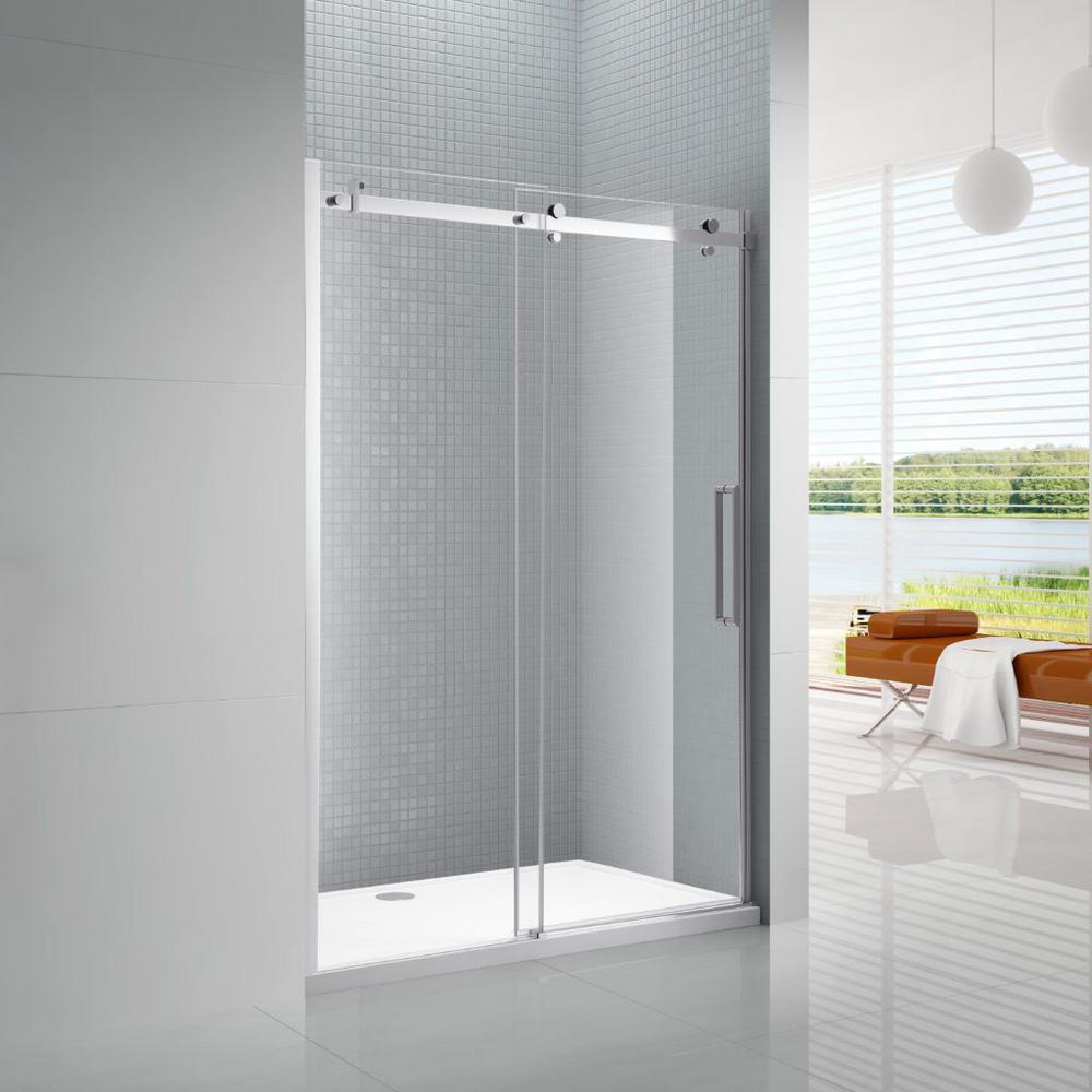 Primo 60 in. x 78 in. Frameless Sliding Shower Door in Chrome with 60 in. x 36 in. Acrylic Shower Base in White