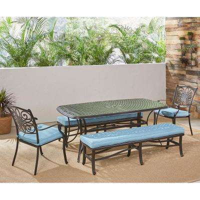 Traditions 5-Piece Aluminum Outdoor Dining Set with Blue Cushions and Cast-Top Tables