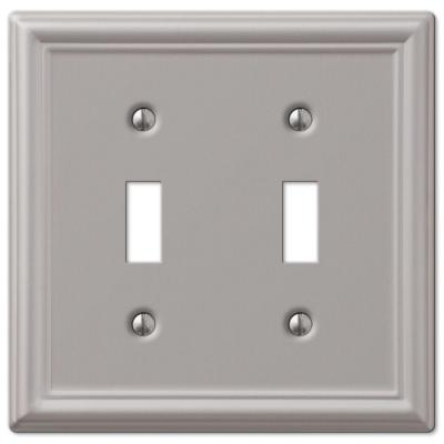 Ascher 2 Gang Toggle Steel Wall Plate - Brushed Nickel