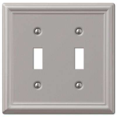 Ascher 2-Gang Toggle Wall Plate, Brushed Nickel Steel