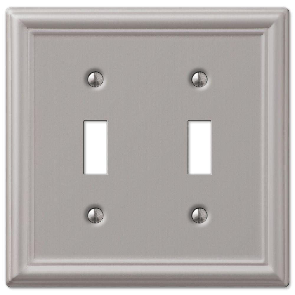 Ascher 2 Toggle Wall Plate - Brushed Nickel Steel