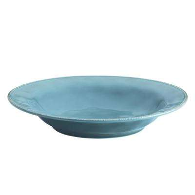 14 in. Agave Blue Cucina Dinnerware Ceramic Round Serving Bowl
