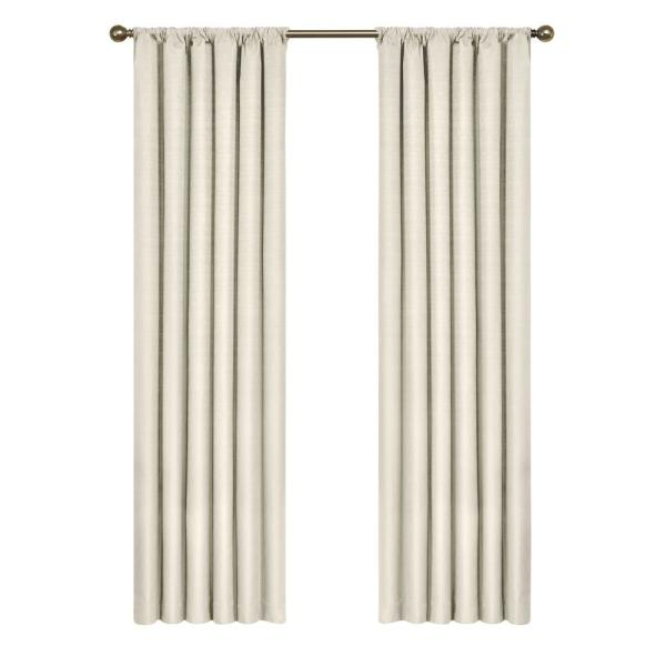 Kendall Blackout Window Curtain Panel in Ivory - 42 in. W x 84 in. L