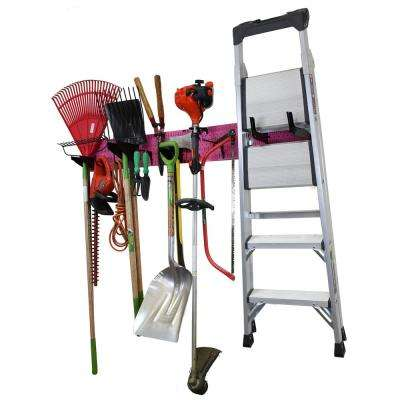 8 in. H x 64 in. W Garage Tool Storage Lawn and Garden Tool Organization Rack with Colorful Pink Pegboard and Black Hook