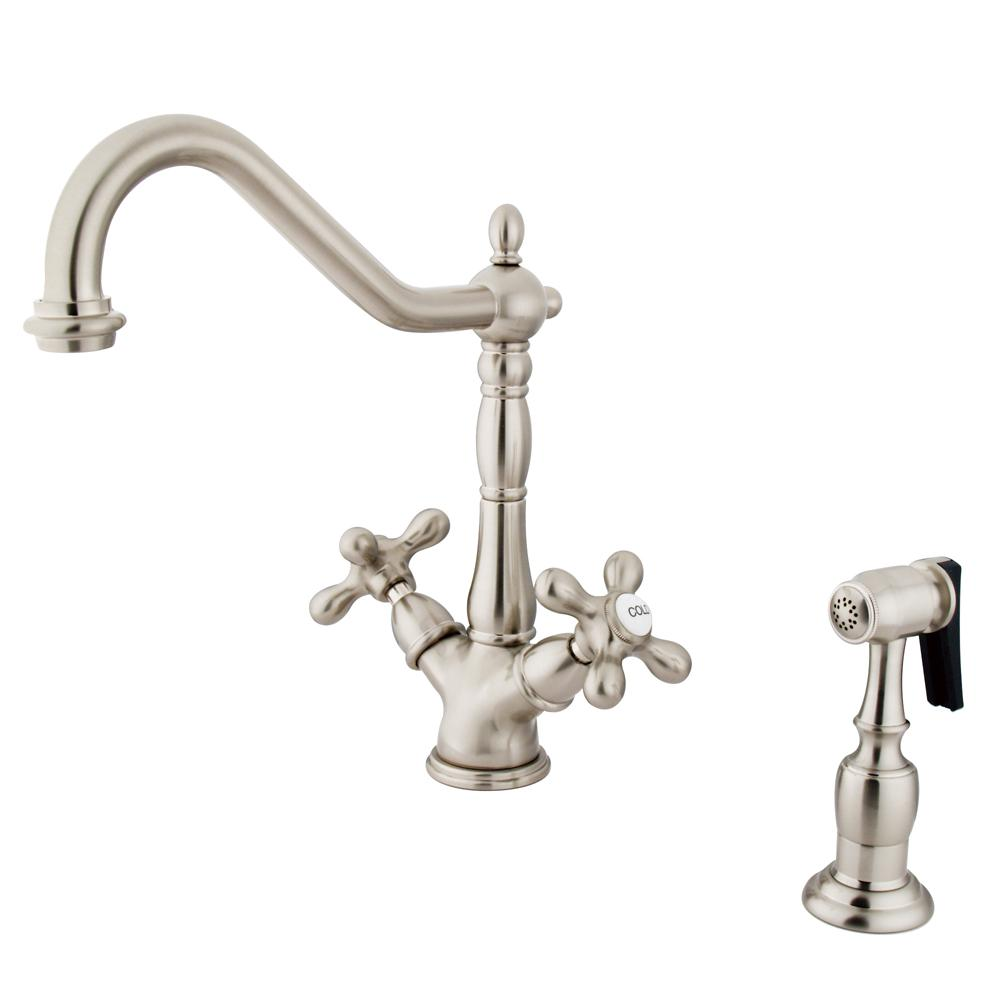 victorian kitchen faucet kingston brass victorian 2 handle standard kitchen faucet with side sprayer in satin nickel 4825